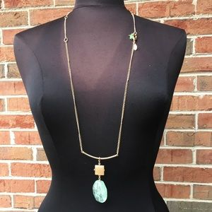 Chico's Long Necklace with Green Crystal